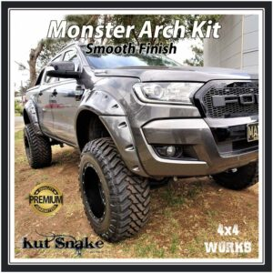 Kut Snake Wheel Arches Ford Ranger PX/PX2/PX3 2011-19 Smooth Wide 95mm Fender Flares