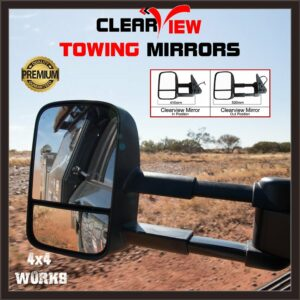 Clearview Towing Mirrors Toyota Land Cruiser 100 Series Amazon 1998-07 Extending Pair Chrome or Black