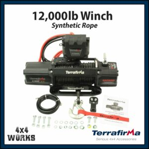 Terrafirma 12,000lb Electric Winch Kit with Synthetic Rope Fairlead Remote Control