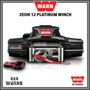 Warn Zeon Platinum 12 12,000lb Electric Winch Kit with Steel Rope Fairlead Remote Control