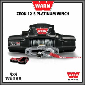 Warn Zeon Platinum 12S 12,000lb Electric Winch Kit with Synthetic Rope Fairlead Remote Control