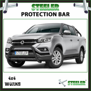 Steeler Black Steel A Bar SsangYong Musso 2018-on Front Protection